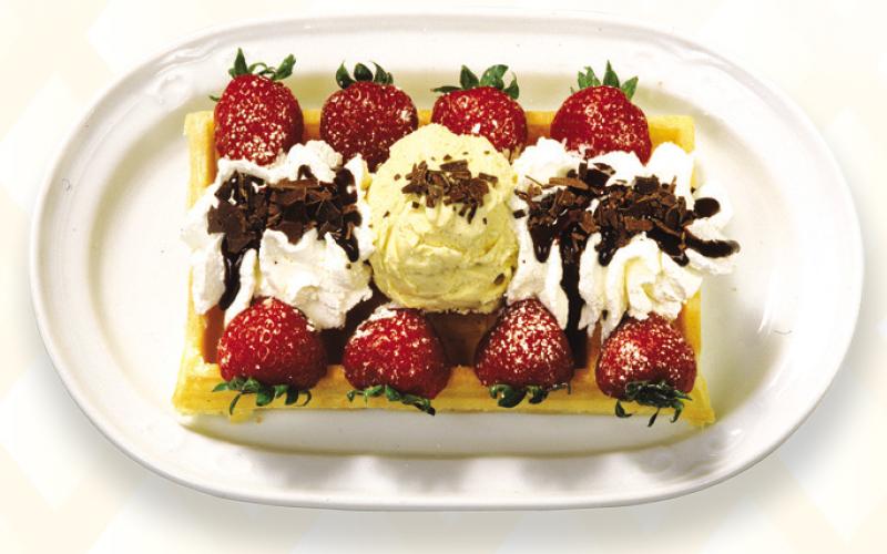 Belgische wafel - Ijs Aardbei